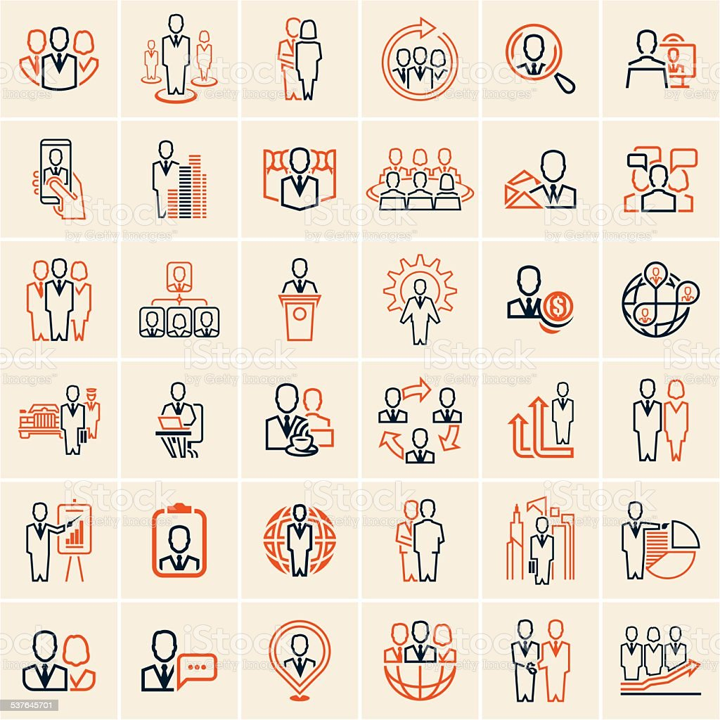 people icons outline vector art illustration