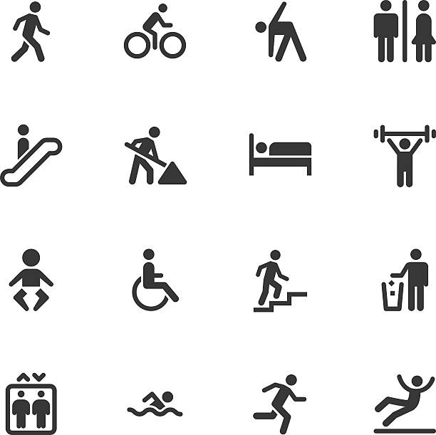 people icons - regular - wheelchair sports stock illustrations, clip art, cartoons, & icons