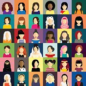 People icons set in flat style with faces of women