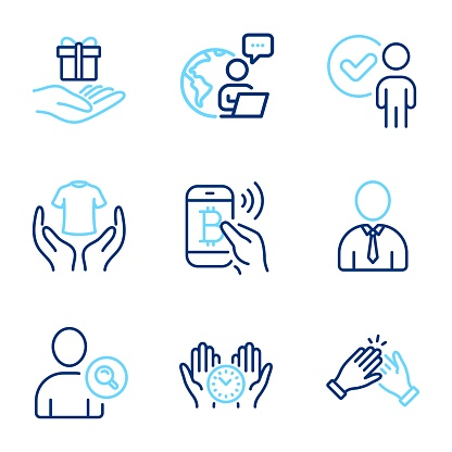 People icons set. Included icon as Clapping hands, Loyalty program, Hold t-shirt signs. Vector