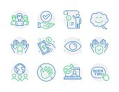 istock People icons set. Included icon as Global business, Do not touch, Health eye signs. Vector 1306460028