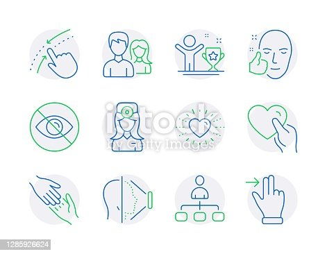 istock People icons set. Included icon as Management, Not looking, Helping hand signs. Vector 1285926624