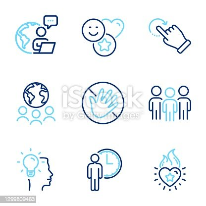 istock People icons set. Included icon as Waiting, Do not touch, Idea signs. Global business, Smile, Group symbols. Vector 1299809463