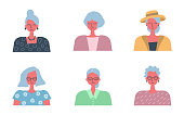 People icons. Six portraits of old women