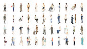 Isometric people illustrations include men, women, and children dressed for work and recreation. People walk, stand, sit, and perform a variety of activities. Use for architectural renderings, infographics, and illustrations. EPS vector and JPEG included. Flat vectors provided in a subtle warm color palette.