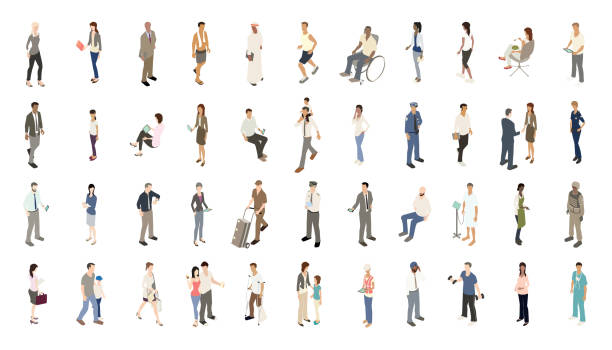People icons subtle color vector art illustration