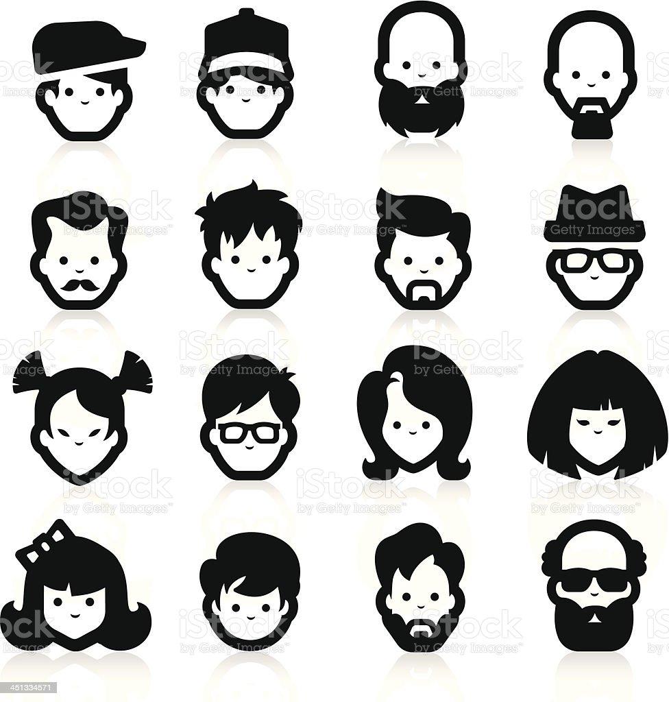 People Icons three vector art illustration