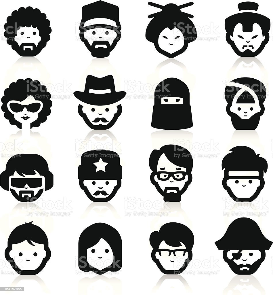 People Icons two vector art illustration