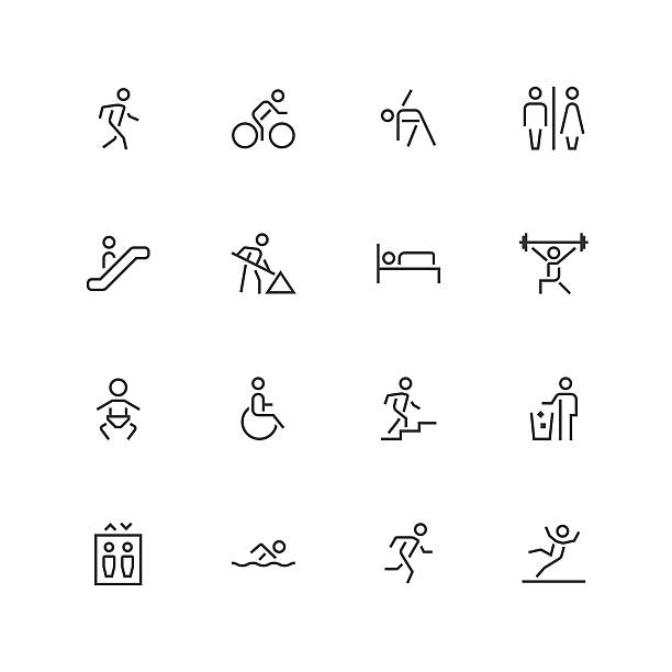 people icons - unique  - line series - wheelchair sports stock illustrations, clip art, cartoons, & icons