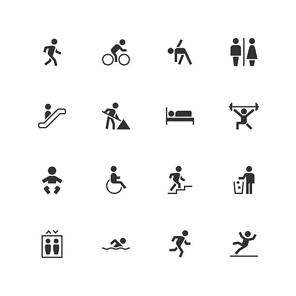 people icons - unique - wheelchair sports stock illustrations, clip art, cartoons, & icons