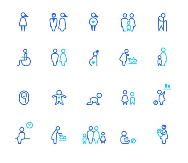 illustrations, cliparts, dessins animés et icônes de icônes de personnages. - adulte