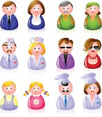 12 people icons: clerks, laborers, doctors, glamorous couple, children, and cooks! EPS 8, AI