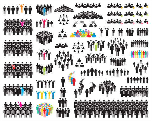People icons Vector illustration of simple people icons. crowd of people stock illustrations