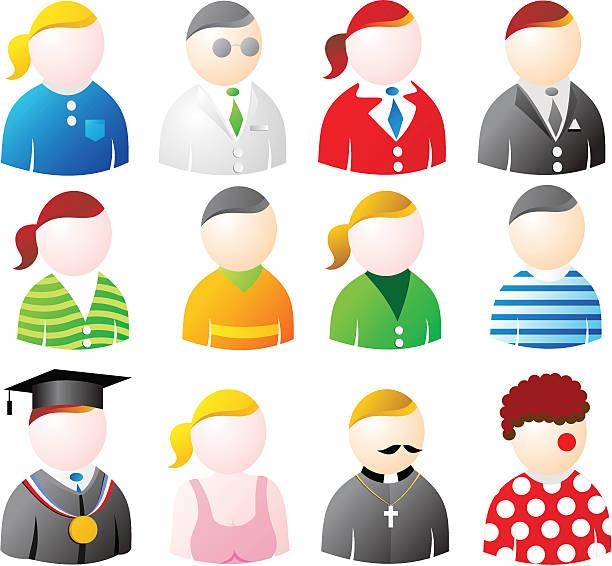 people icons - byteandpixel stock illustrations