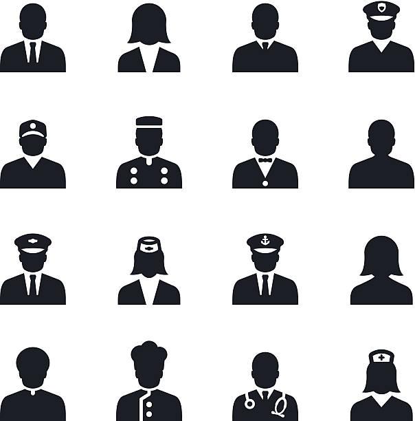 ilustraciones, imágenes clip art, dibujos animados e iconos de stock de iconos de personas - oficial rango militar