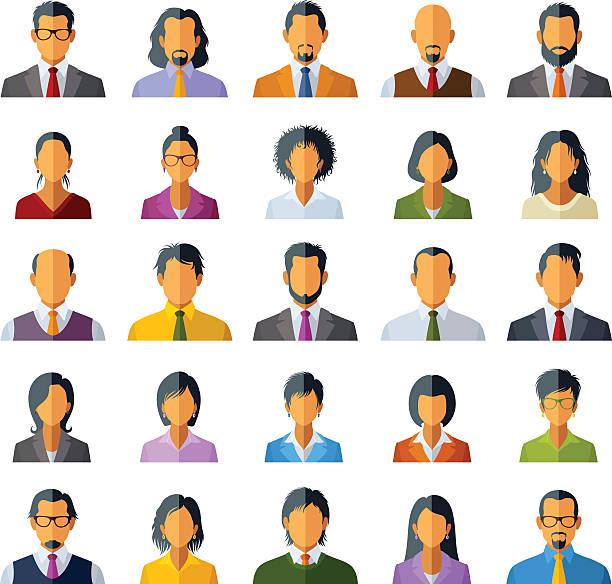 stockillustraties, clipart, cartoons en iconen met people icons - kaal geschoren hoofd