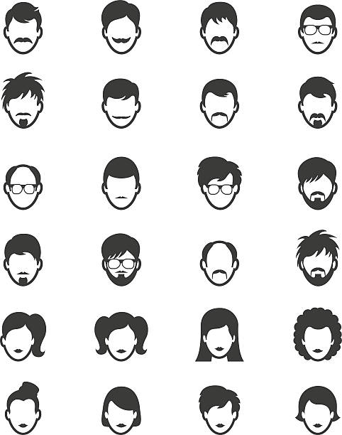 people icons - old man hair stock illustrations, clip art, cartoons, & icons