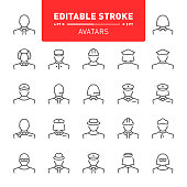 People, avatar, editable stroke icon set, character, occupation, icon, line
