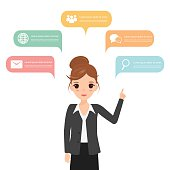 People icons with chat speech bubble infographic concept. Busine
