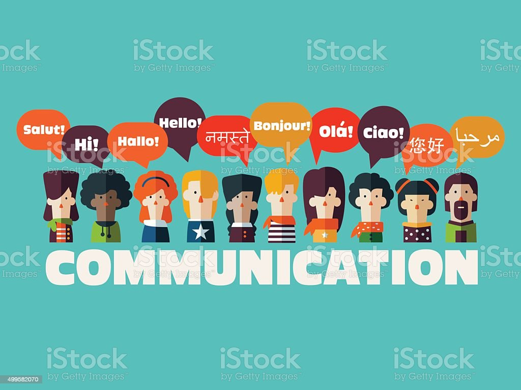 People icons with speech bubbles in different languages. Communication concept vector art illustration