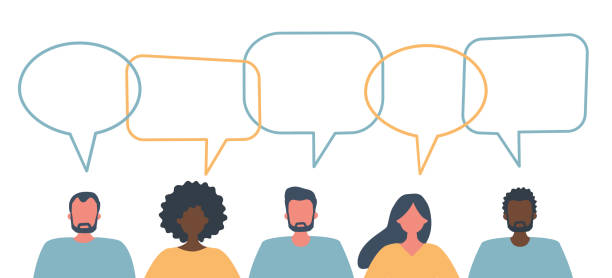 People icons with speech bubbles. International community of people vector art illustration