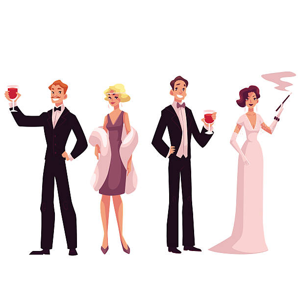 people in 1920s style cocktail dresses at a vintage party - abendveranstaltung stock-grafiken, -clipart, -cartoons und -symbole