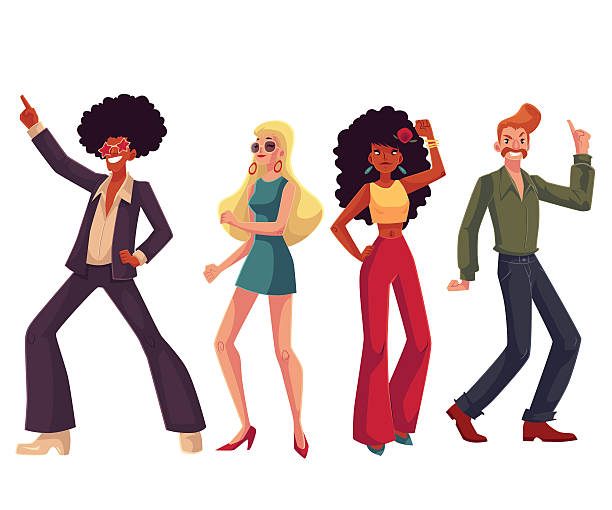 people in 1970s style clothes dancing disco - 1960s style stock illustrations, clip art, cartoons, & icons