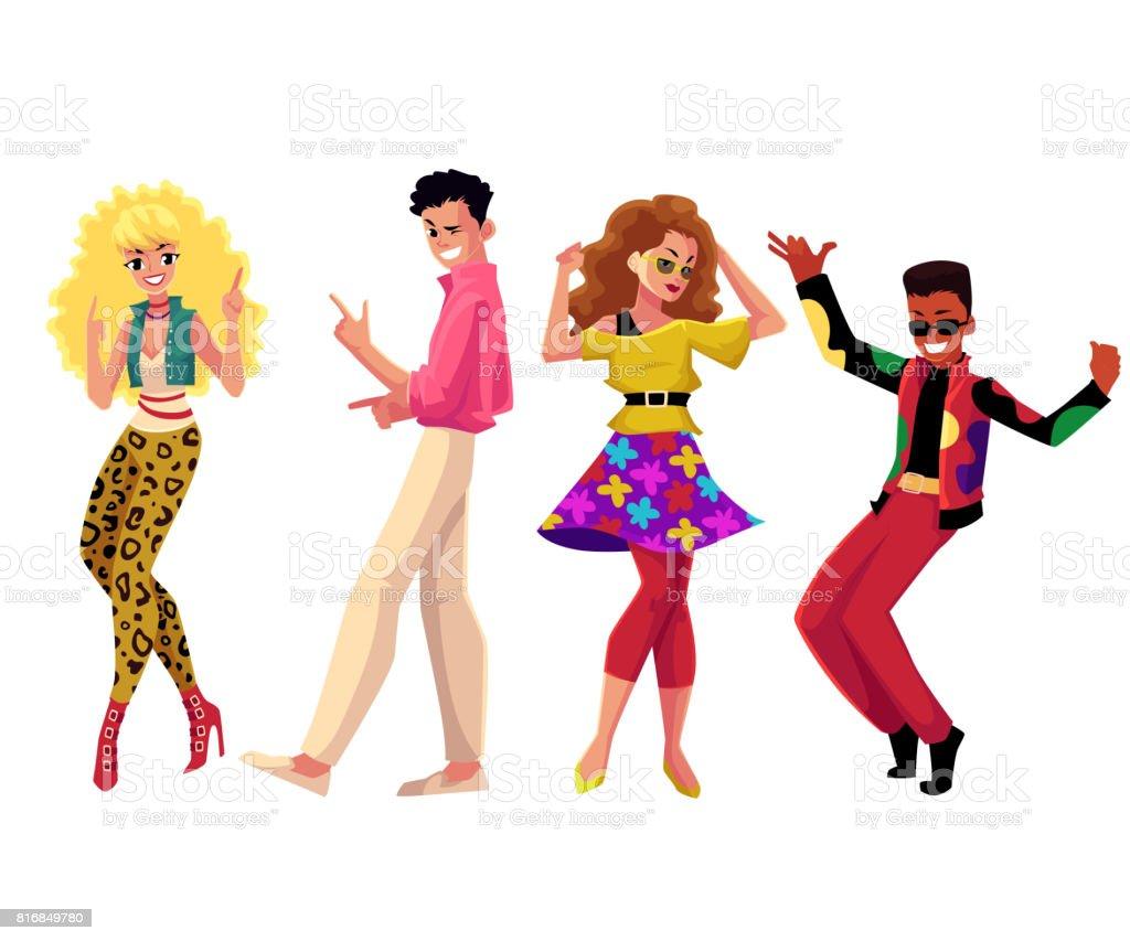 Partypeople Im Stil Der 1980er Jahre Kleidung In Retrodisco Tanz ...