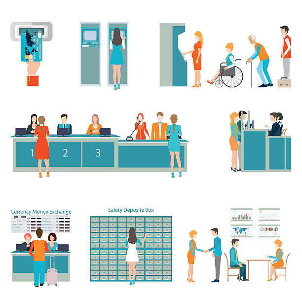 People in a bank interior. vector art illustration