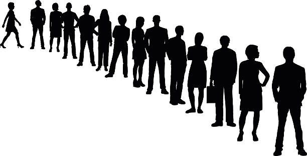People in a Line (All People Are Separate and Complete) People lining up. people in a row stock illustrations