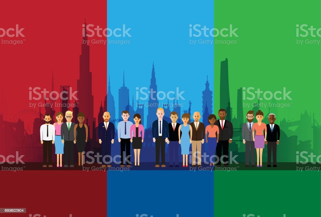 people in a line vector art illustration