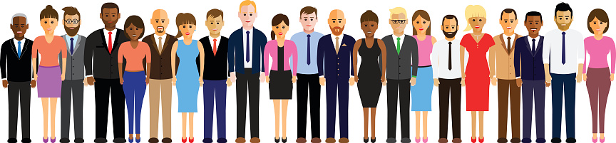 people in a line clipart