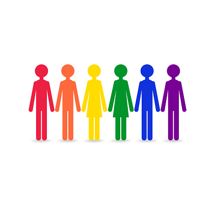 People in a rainbow color - a symbol LGBT community and movement of sexual minorities.