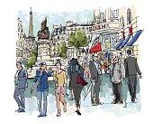 People in a street of Paris