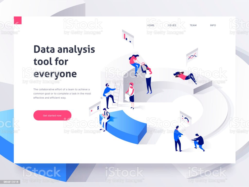 People in a team build a pie chart and interact with graphs. Landing page template. 3d isometric illustration royalty-free people in a team build a pie chart and interact with graphs landing page template 3d isometric illustration stock vector art & more images of adult