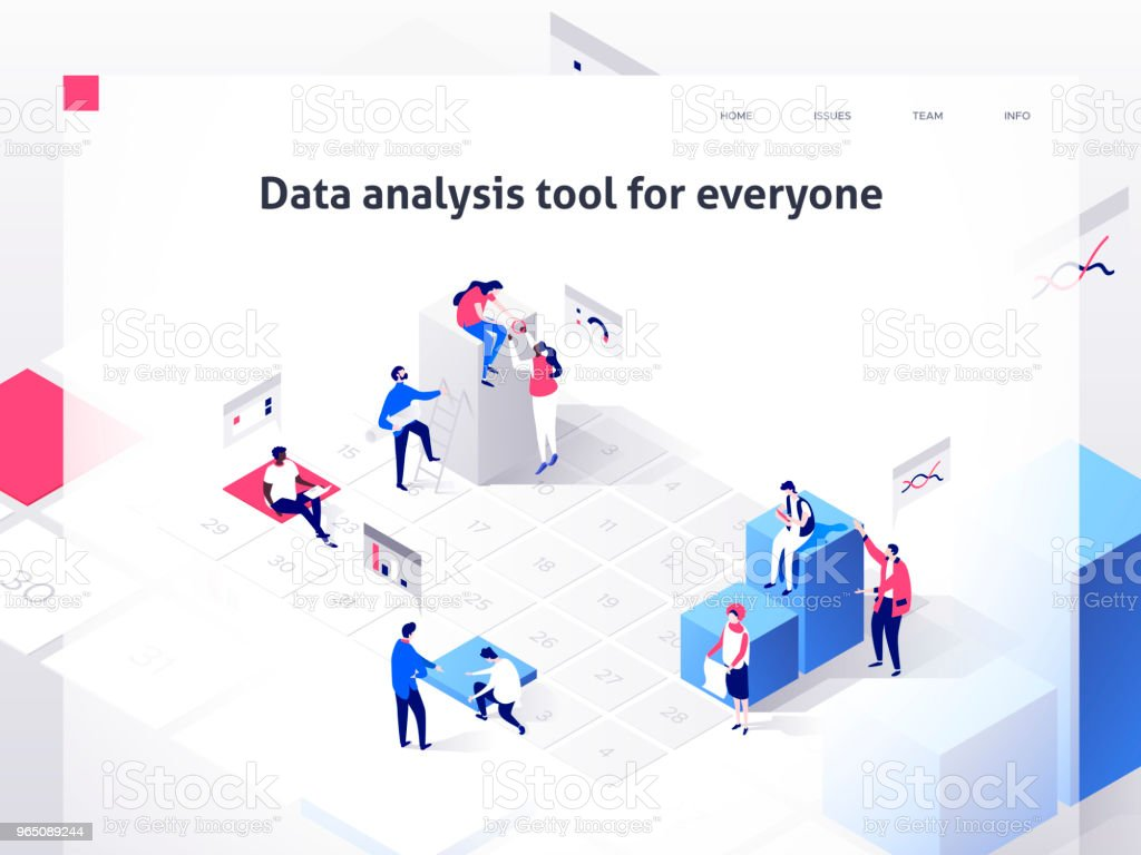 People in a team build a time schedule and interact with graphs. Landing page template. 3d isometric illustration people in a team build a time schedule and interact with graphs landing page template 3d isometric illustration - stockowe grafiki wektorowe i więcej obrazów biuro royalty-free
