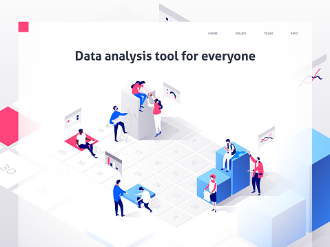 People In A Team Build A Time Schedule And Interact With Graphs Landing Page Template 3d Isometric Illustration - Stockowe grafiki wektorowe i więcej obrazów Biuro