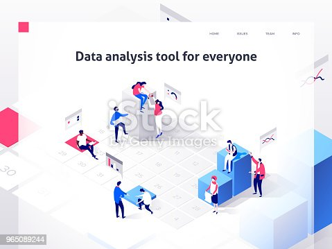People In A Team Build A Time Schedule And Interact With Graphs Landing Page Template 3d Isometric Illustration - Stockowe grafiki wektorowe i więcej obrazów Biuro 965089244
