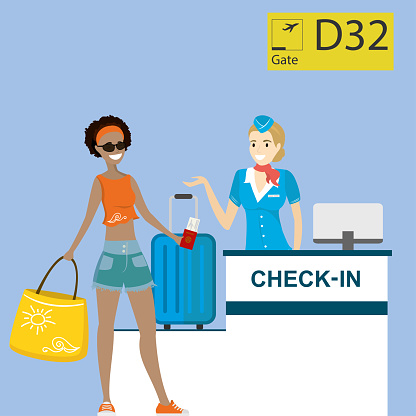 People in airport at registration desk. Vacation and travel concept.