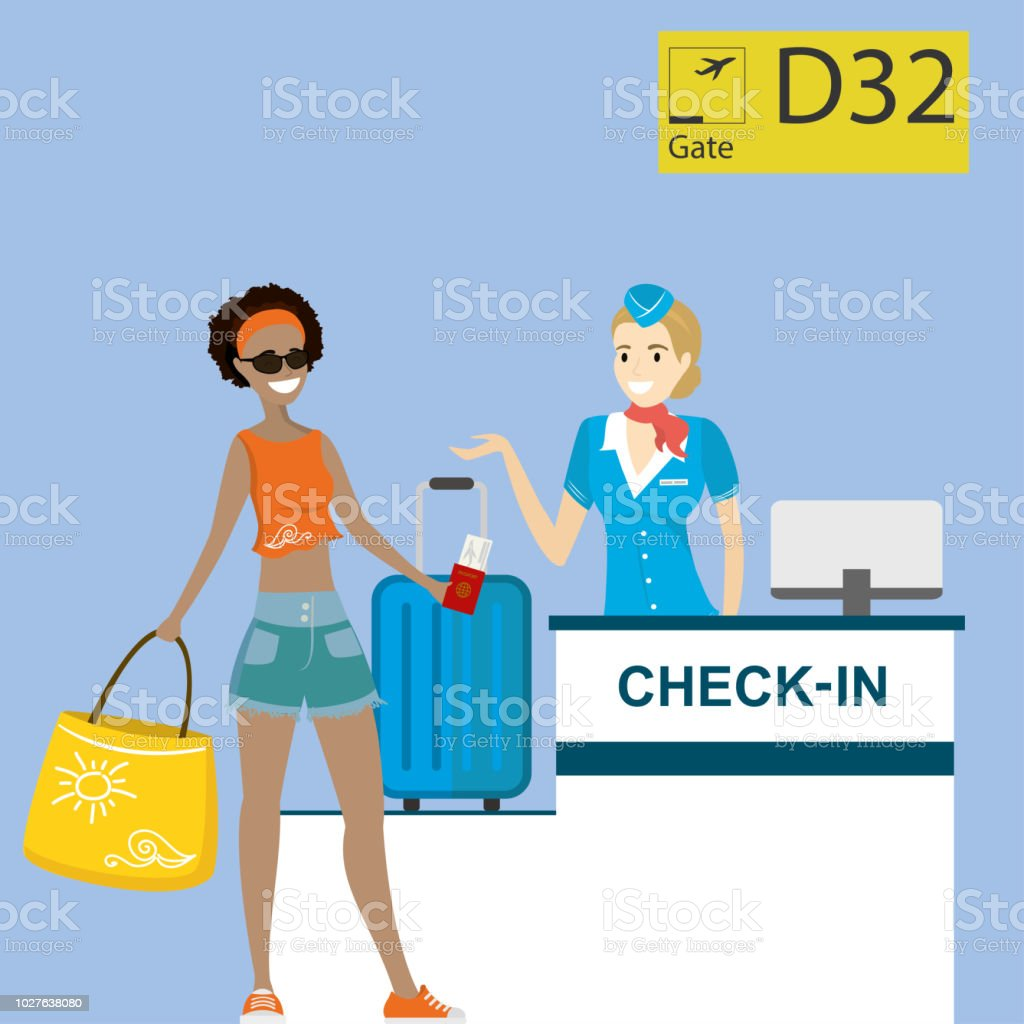 People in airport at registration desk. Vacation and travel concept. vector art illustration