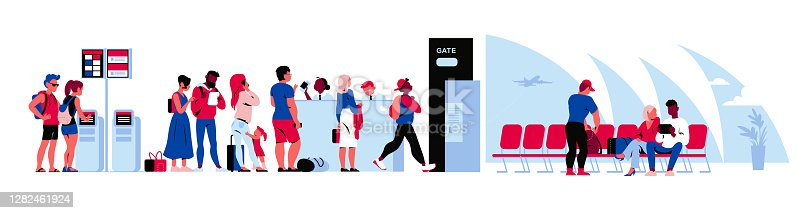 istock People in airport terminal waiting for the flight, going through passport control, registering online. 1282461924