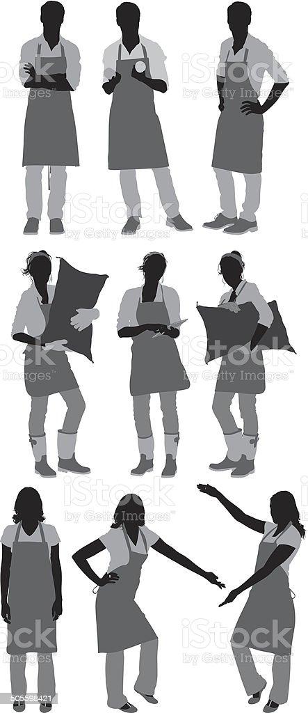 People in apron vector art illustration