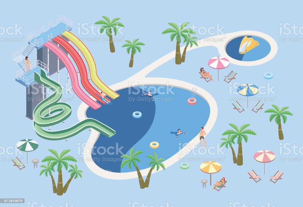 People in aqua park, relax at the pool. Swimming pool and water slides. Vector isometric illustration. vector art illustration