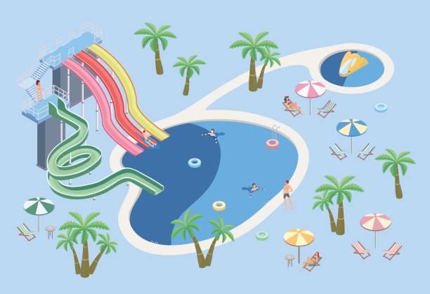 bildbanksillustrationer, clip art samt tecknat material och ikoner med människor i äventyrsbad, koppla av vid poolen. pool och vattenrutschbanor. isometrisk vektorillustration. - aktiva pensionärer utflykt