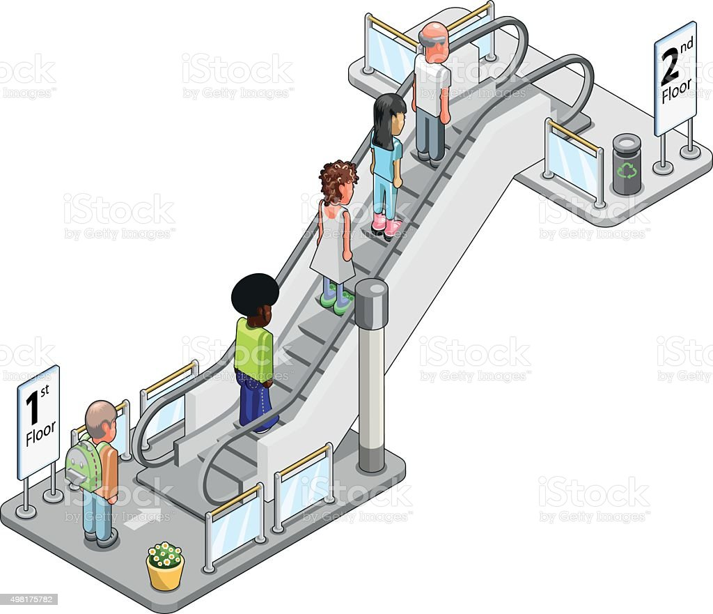 People in back view on escalator going up (vector graphic) vector art illustration