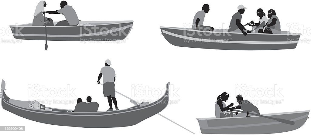 People in boats royalty-free stock vector art