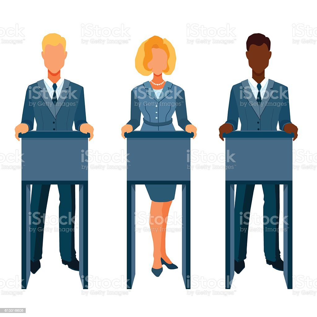 People in business clothes participate in debate. vector art illustration