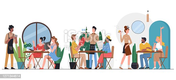 istock People in cafe flat vector illustration, cartoon friend or couple characters sitting at tables, dining and talking, ordering dinner food 1271344514