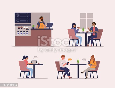 Young People Characters Dinning and Working in Cafe. Barista standing at Counter. Woman and Man Talking and Drinking Coffee. Flat Cartoon Vector Illustrations Set.
