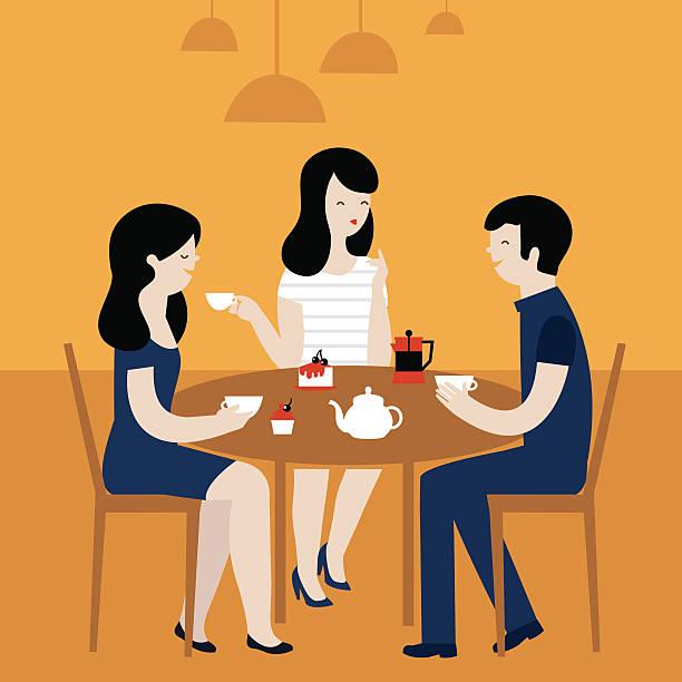 illustrazioni stock, clip art, cartoni animati e icone di tendenza di persone in café - dinner couple restaurant